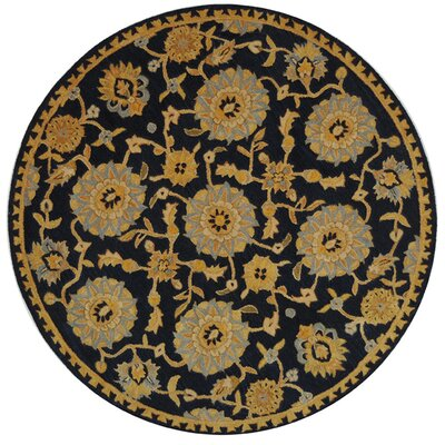 Anatolia Hand-Woven Wool Navy/Gold Area Rug Rug Size: Round 6
