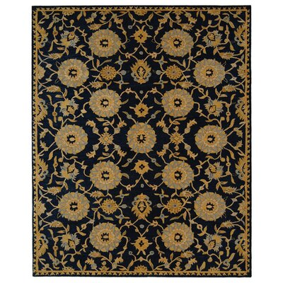 Anatolia Hand-Woven Wool Navy/Gold Area Rug Rug Size: Rectangle 5 x 8