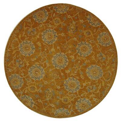 Anatolia Gold/Blue Area Rug Rug Size: Round 8