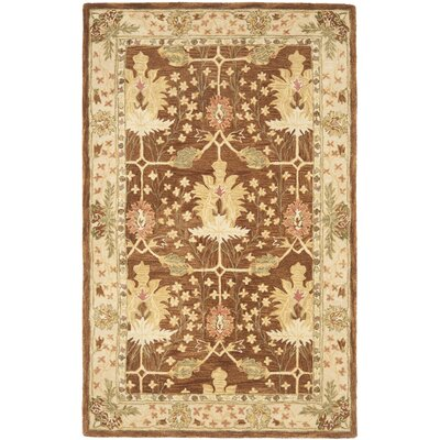 Anatolia Hand-Woven Wool Brown/Cream Area Rug Rug Size: Rectangle 5' x 8'
