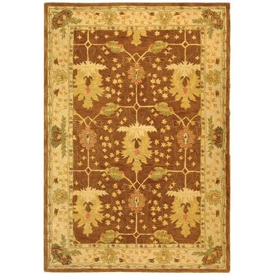 Anatolia Hand-Woven Wool Brown/Cream Area Rug Rug Size: Rectangle 6 x 9