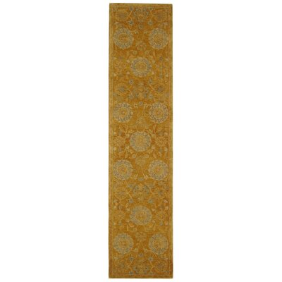 Anatolia Gold/Blue Area Rug Rug Size: Runner 23 x 8