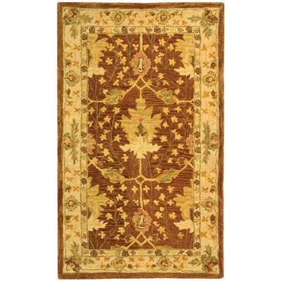 Anatolia Hand-Woven Wool Brown/Cream Area Rug Rug Size: Rectangle 3 x 5