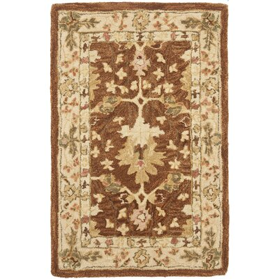 Anatolia Hand-Woven Wool Brown/Cream Area Rug Rug Size: Rectangle 2' x 3'