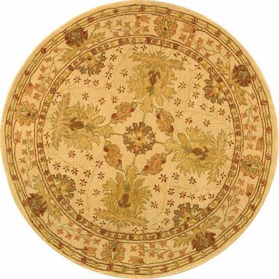 Anatolia Cream/Red Area Rug Rug Size: Round 4'