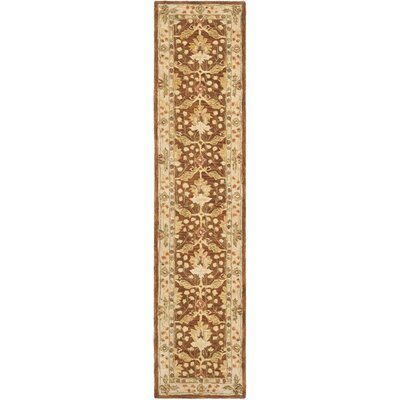 Anatolia Hand-Woven Wool Brown/Cream Area Rug Rug Size: Runner 23 x 12