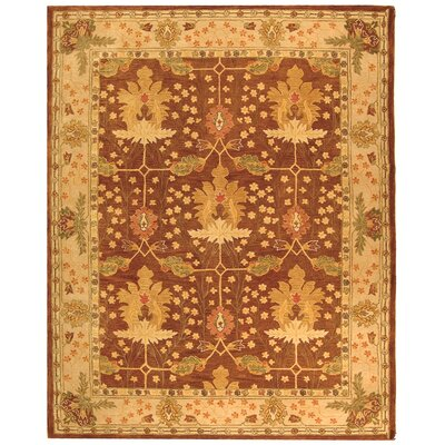 Anatolia Hand-Woven Wool Brown/Cream Area Rug Rug Size: Rectangle 96 x 136