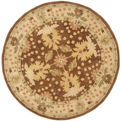 Anatolia Hand-Woven Wool Brown/Cream Area Rug Rug Size: Round 6