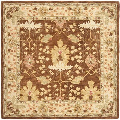 Anatolia Brown/Cream Area Rug Rug Size: Square 6