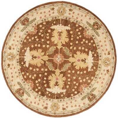 Anatolia Hand-Woven Wool Brown/Cream Area Rug Rug Size: Round 8