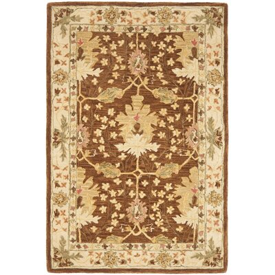 Anatolia Hand-Woven Wool Brown/Cream Area Rug Rug Size: Rectangle 4 x 6