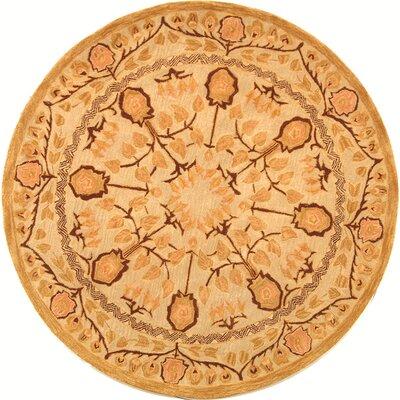 Anatolia Ivory/Gold Area Rug Rug Size: Round 4