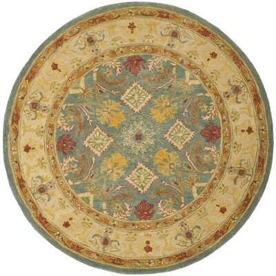 Pritchard Blue Area Rug Rug Size: Round 8