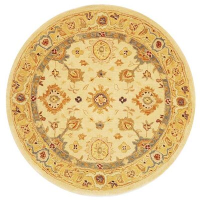 Pritchard Hand-Woven Wool Ivory/Gold Area Rug Rug Size: Round 4