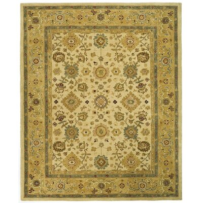 Pritchard Hand-Woven Wool Ivory/Gold Area Rug Rug Size: Rectangle 9 x 12