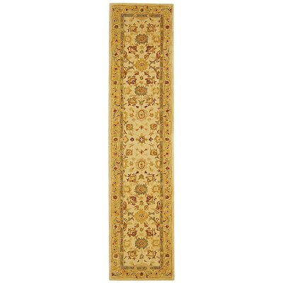 Pritchard Hand-Woven Wool Ivory/Gold Area Rug Rug Size: Runner 23 x 12