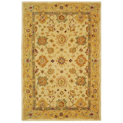 Pritchard Hand-Woven Wool Ivory/Gold Area Rug Rug Size: Rectangle 4 x 6