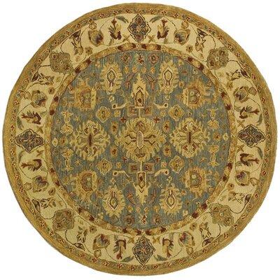 Anatolia Oriental Blue/Ivory Area Rug Rug Size: Round 4