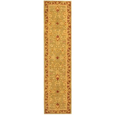 Anatolia Light Green/Red Area Rug Rug Size: Runner 2'3