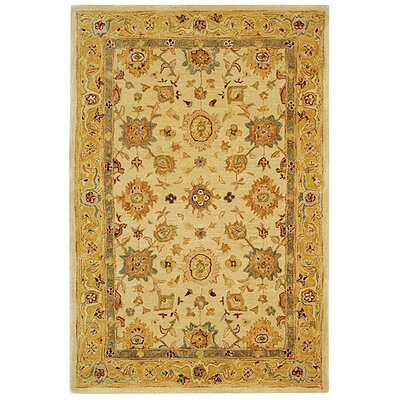Pritchard Hand-Woven Wool Ivory/Gold Area Rug Rug Size: Rectangle 2 x 3