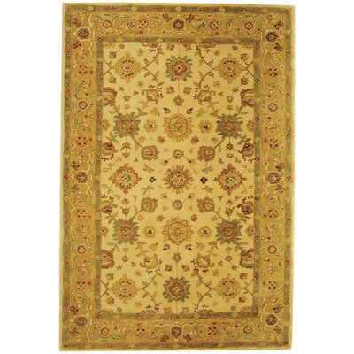 Pritchard Hand-Woven Wool Ivory/Gold Area Rug Rug Size: Rectangle 6 x 9