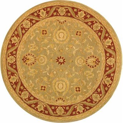Anatolia Light Green/Red Area Rug Rug Size: Round 4