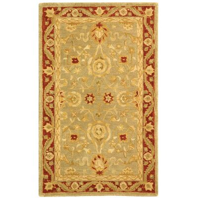 Anatolia Light Green/Red Area Rug Rug Size: 4 x 6