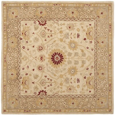 Anatolia Sand/Walnut/Green Area Rug Rug Size: Square 8