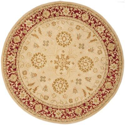 Anatolia Ivory & Red Area Rug Rug Size: Round 8
