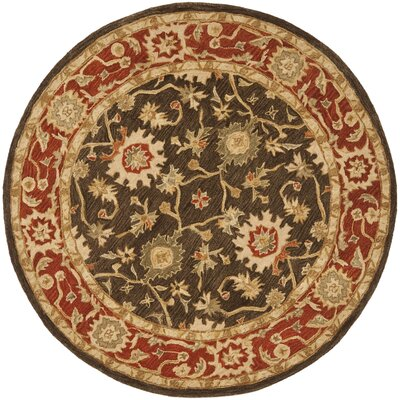 Pritchard Hand-Woven Wool Olive/Rust Area Rug Rug Size: Round 4