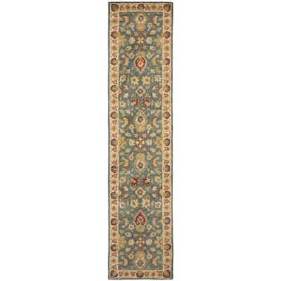 Antiquities Hand-Woven Wool Blue/Beige Area Rug Rug Size: Runner 23 x 8