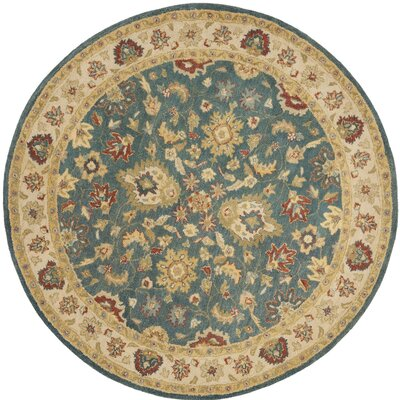Antiquities Blue/Beige Area Rug Rug Size: Round 8