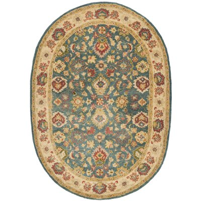 Antiquities Hand-Woven Wool Blue/Beige Area Rug Rug Size: Oval 46 x 66