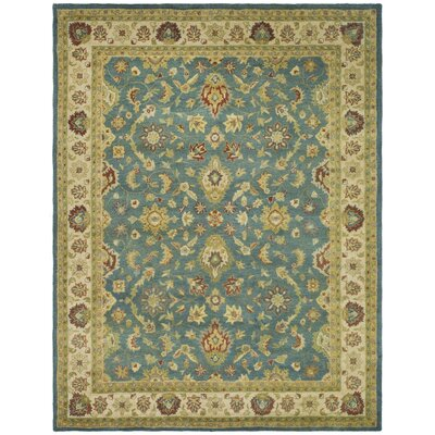 Antiquities Hand-Woven Wool Blue/Beige Area Rug Rug Size: Rectangle 76 x 96