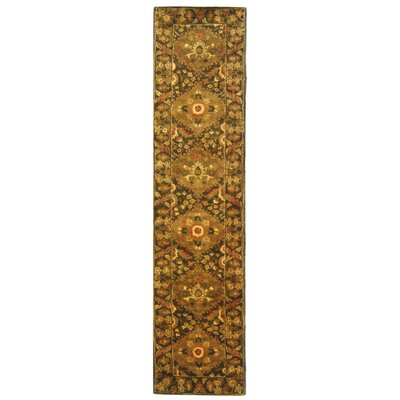 Antiquity Hand-Woven Wool Olive Area Rug Rug Size: Runner 23 x 10