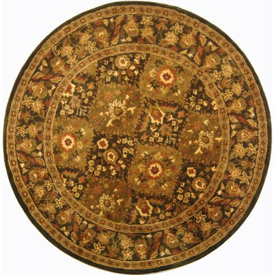 Antiquity Hand-Woven Wool Olive Area Rug Rug Size: Round 6