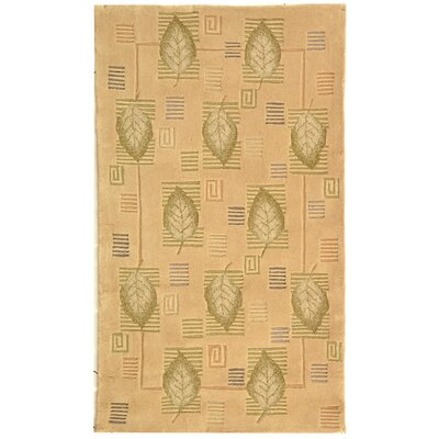Berkeley Beige Leaves Area Rug Rug Size: 3'9