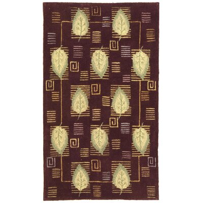 Berkeley Plum Leaves Area Rug Rug Size: 53 x 83