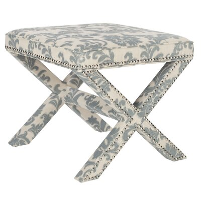 Pamela Upholstered Ottoman Upholstery: Slate And Beige Print