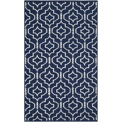 Dhurries Navy / Ivory Geometric Area Rug Rug Size: Runner 26 x 10