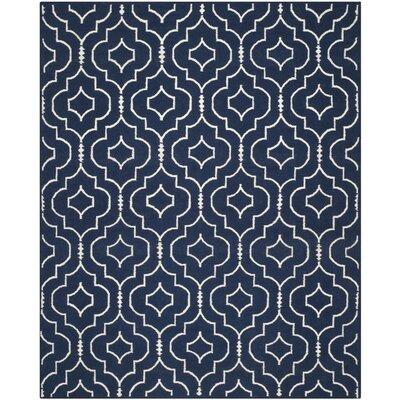 Dhurries Navy / Ivory Geometric Area Rug Rug Size: 9 x 12