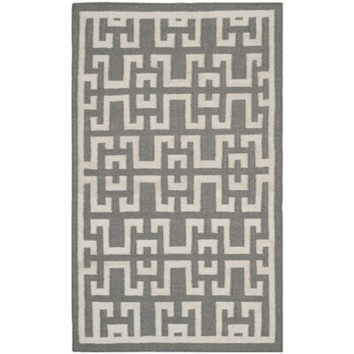 Dhurries Soft Grey /  Ivory Moroccan Area Rug Rug Size: 9 x 12