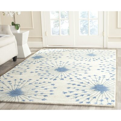 Zandbergen hand-Tufted/Hand-Hooked Wool Beige/Blue Area Rug Rug Size: Rectangle 3 x 5