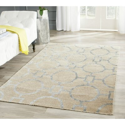 Stone Wash Hand-Woven Cotton Beige Area Rug Rug Size: Rectangle 9 x 12