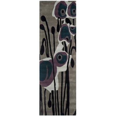 Soho Hand-Tufted Gray/Blue Area Rug Rug Size: Runner 2'6