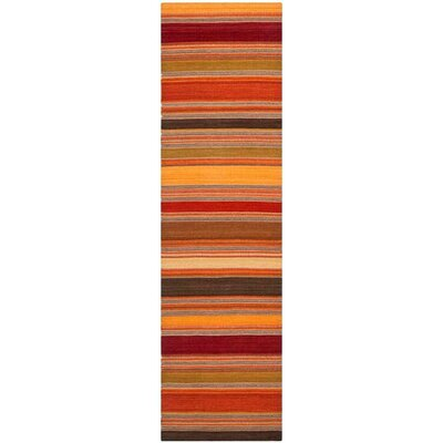 Striped Kilim Gold Rug Rug Size: Runner 23 x 8