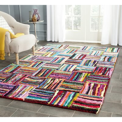 Castro Hand-Tufted Cotton Red/Blue Area Rug Rug Size: Rectangle 23 x 4