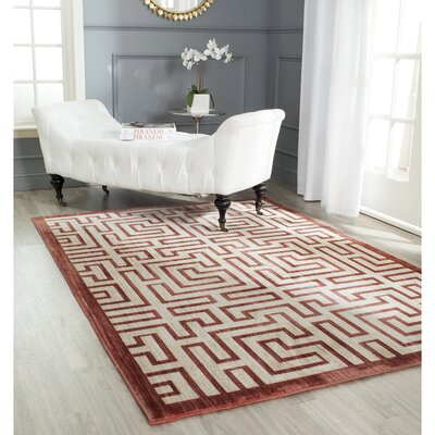Infinity Red/Beige Area Rug Rug Size: Rectangle 51 x 76