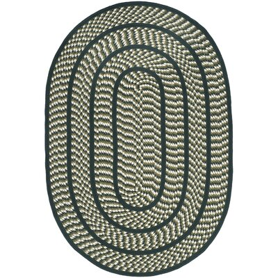 Braided Ivory/Dark Green Contemporary Area Rug Rug Size: Oval 4' x 6'