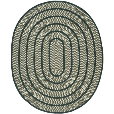 Braided Ivory/Dark Green Contemporary Area Rug Rug Size: Oval 8' x 10'
